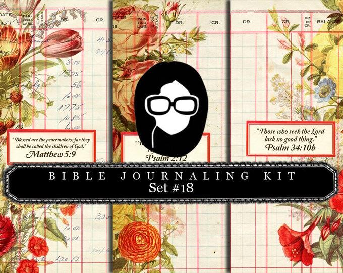 Bible Verses DIY - Bible Verse Set #18 - 3 Pg Instant Downloads - digital rose paper, lined journal pages, prayer journaling, scripture art