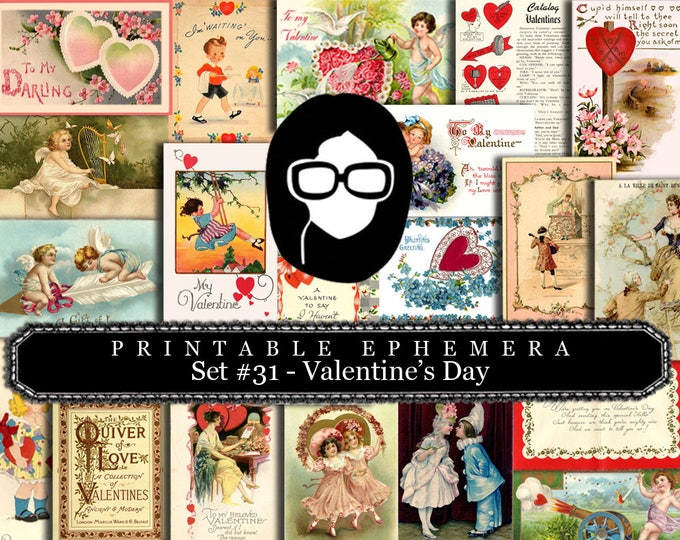 Valentine's Day Printable Calendars - Ephemera Set #31 - 30 Page Instant Download - blank journal cards, digital journal kit