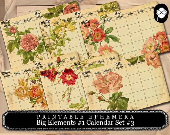 Blank Journal Cards - Big Elements #1 Calendar #3 - 3 PgInstant Download - digital journal kits, roses clipart floral, paper ephemera kit