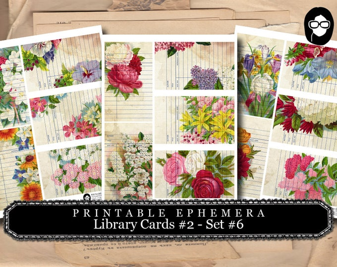 Roses Clipart Floral - Library Cards 2 Set #6- 3 Page Instant Download- paper ephemera kit, journaling cards, ephemera pack, altered art kit