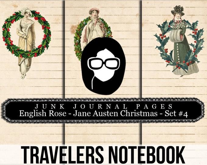 Jane Austen Christmas Travellers Notebook Set #4 - Journal Pages - 3 Printable Pages- travelers notebook, fauxdori insert, midori