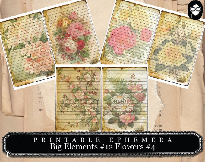 Digital Journal Card - Big Elements #12 Flowers #4 - 3 Page Instant Download - floral clipart, smashbook supplies, blank journal cards