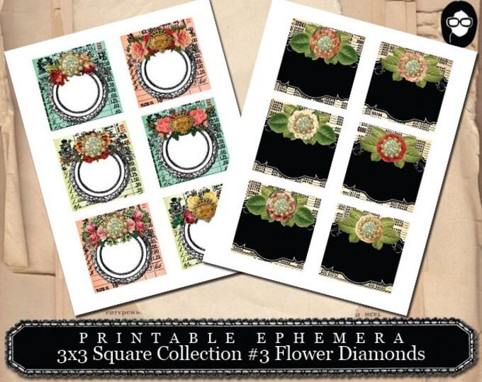 Ephemera Pack - 3x3 Square Set #2- 2 Page Instant Download - pink rose clipart, printable, ephemera kit, art journal card, journaling kit
