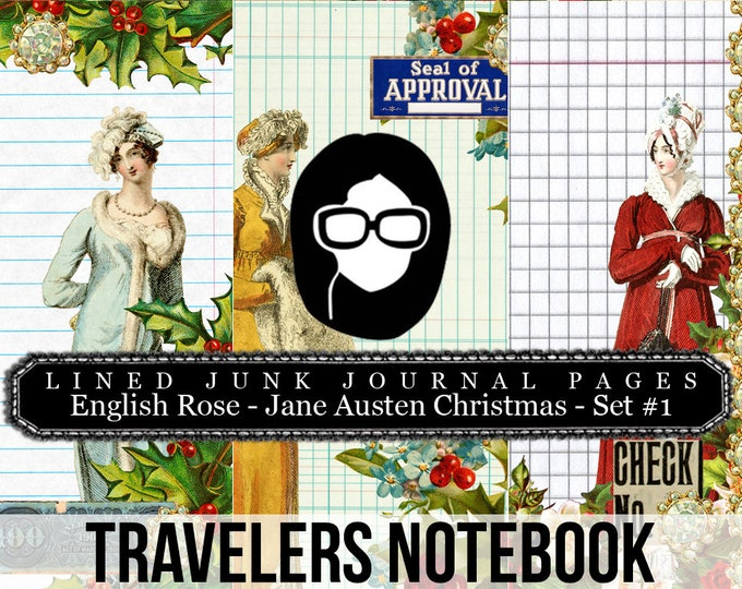 Jane Austen Christmas Travellers Notebook Set #1 LINED - Journal Pages - 3 Printable Pages- travelers notebook, fauxdori insert, midori