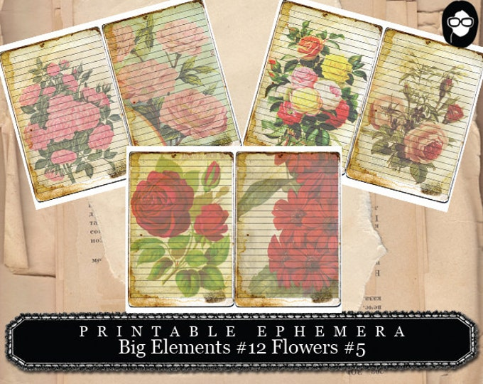 Roses Clipart - Big Elements # 12 Flowers # 5 - 3 Page Instant Download - junk journal supply, project life kit, mixed media art kit