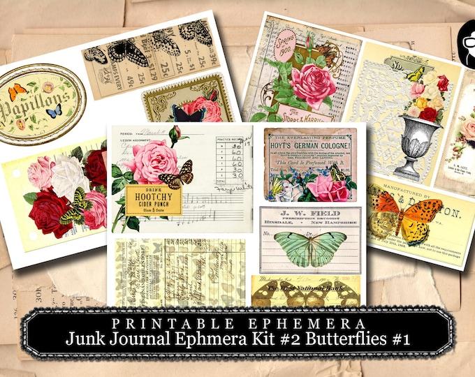 Junk Journal Ephemera Kit Set #2 Butterflies #1 - 3 Pg Instant Download - printable diary pack, vintage junk journal, ephemera paper set