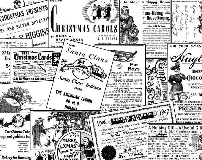 Christmas journal kits - Ephemera Set #47  Christmas Black & White - 6 Pg download - Christmas digital download, Christmas journal pages