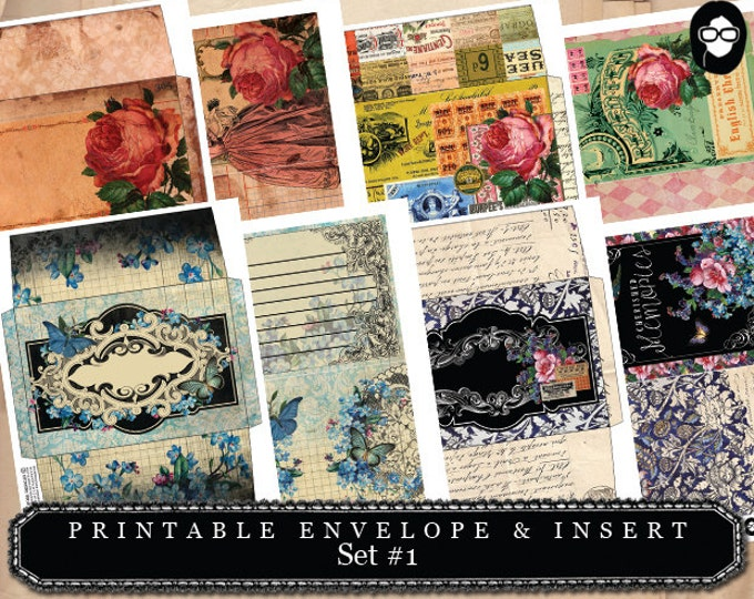 Envelope Templates & Insert Set #1 - 8 Page Instant download - envelope template, printable envelope, mini envelopes, digital collage