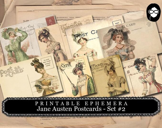 Jane Austen Print - Sense And Sensibility - Postcards Set #2 - 2 Pg Instant Download - pride and prejudice, jane austen quote, journal cards