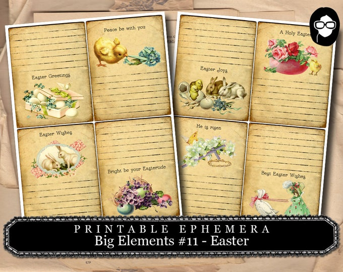 Ephemera Kit - Big Elements # 11 Easter Cards - 2 Page Instant Download -  journaling kit, art journal card, digital journal card