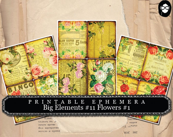 Art Journal Card-  Big Elements # 11 Flowers # 1 - 3 Page Instant Download -  journaling cards, journal cards, digital journal card