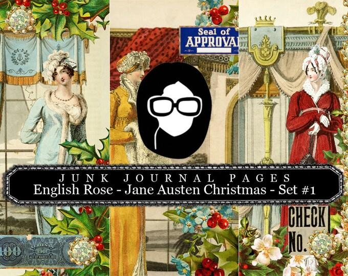 Jane Austen Christmas Journal Pages Set #1 - 3 Pg Instant Downloads -  sense and sensibility pride and prejudice, jane austen quote, regency