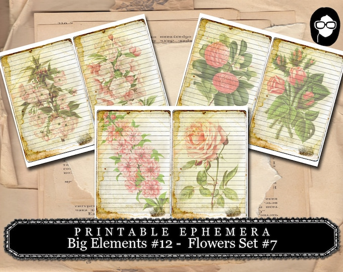 Roses Clipart - Big Elements # 12 Flowers #7  - 3 Page Instant Download - junk journal supply, project life kit, mixed media art kit