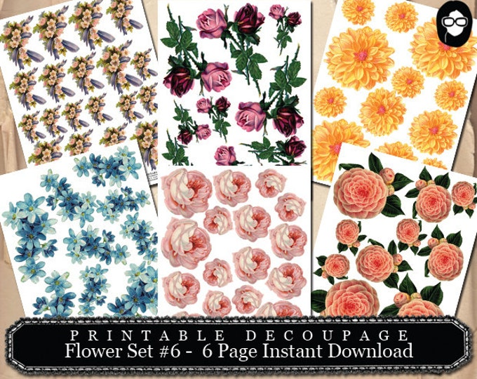 Roses Clipart Floral - Decoupage Flowers Set #6- 6 Page Instant Download - pink rose clipart, bouquet clipart, roses flower clipart
