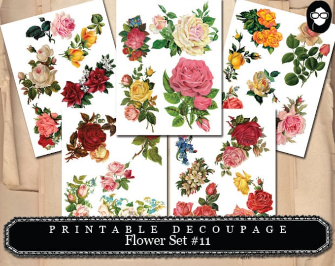 Floral PNG Clipart - Decoupage Flowers Set #11 - 5 Page Instant Download - png floral clipart, clipart floral, roses clipart, digital roses
