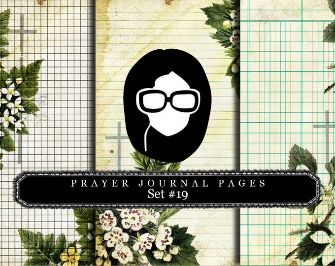 Prayer Journaling - Bible Verse Set #19 - 3 Pg Instant Downloads - vintage crosses, bible verses diy, scripture art, bible journaling kit