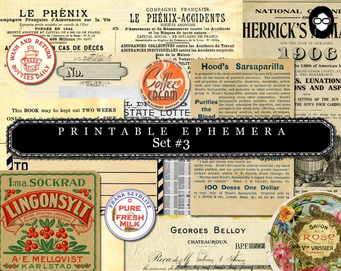 Ephemera Paper Pack - Printable Ephemera Set # 3 - 30 Pg Instant Download - blank journal cards, digital journal kits, roses clipart floral