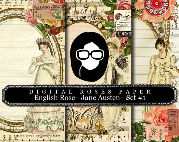 Jane Austen Print - English Rose - Digital Roses Paper - Set #1 - 3 Pg Instant Downloads -  pride and prejudice, jane austen quote, regency