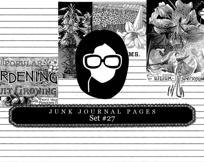 Lined Paper Download - Set 27 - 3 Page Instant Downloads, digital paper pack, black and white, lined journal, 8.5x11 Digital Paper Packs