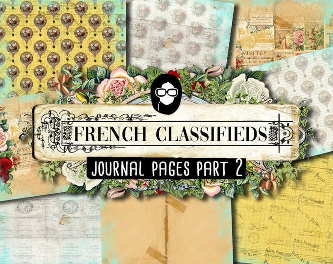 French Journal Kit - French Classifieds - Journal Pages P2 - 8 Pg Digital Download - paris printable, parisian themed junk journal kit