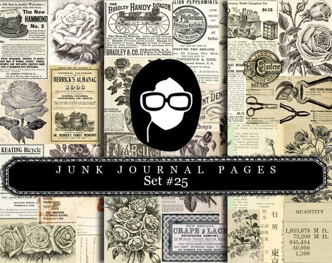 Junk Journal Pages - Set #25 - 3 Pg Instant Download - rose digital paper, floral digital paper, digital paper pack