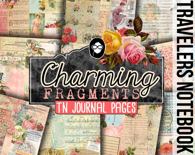 Travelers Notebook - Charming Fragments - 13 Printable Midori Insert Pages - travellers notebook, fauxdori insert, junk journal kit