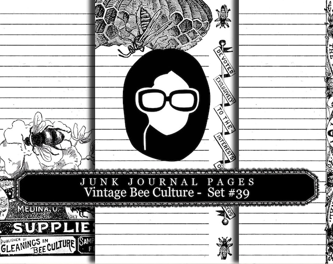 Lined Paper Pack - Vintage Bee Culture Set # 39 - 3 Pg Instant Download, lined diary paper, lined journal paper, vintage distressed Paper