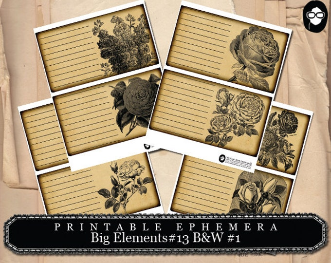 Digital Roses Floral - Big Elements # 13 B&W # 1 - 4 Page Instant Download - mixed media kit, junk journal supply, project life kit