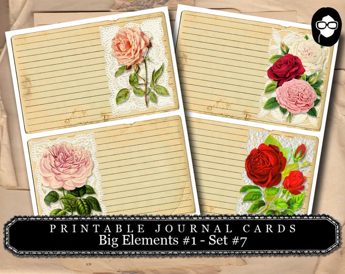 Roses Clipart - Big Elements #1  Set #7 - 2 Page Instant Download - junk journal supply, project life kit, mixed media art kit