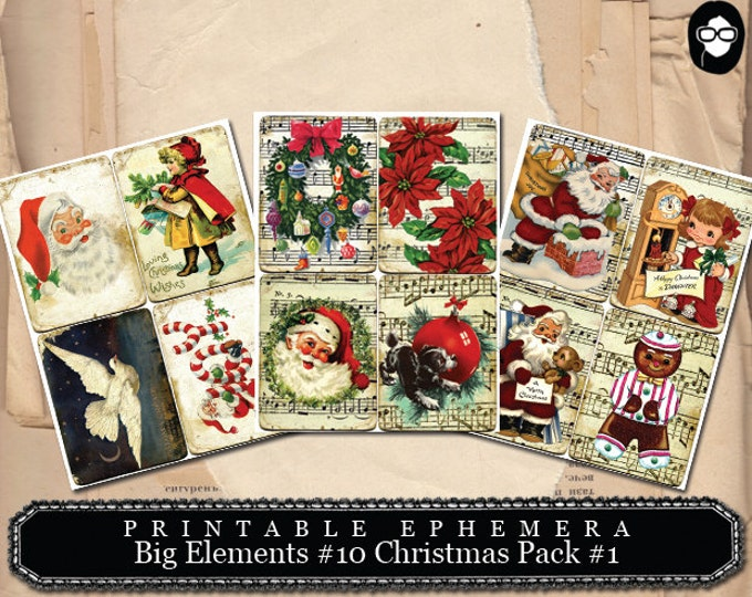 Ephemera Kit - Big Elements # 10 Christmas Cards - 3 Page Instant Download - christmas clip art, clipart christmas, digital journal card