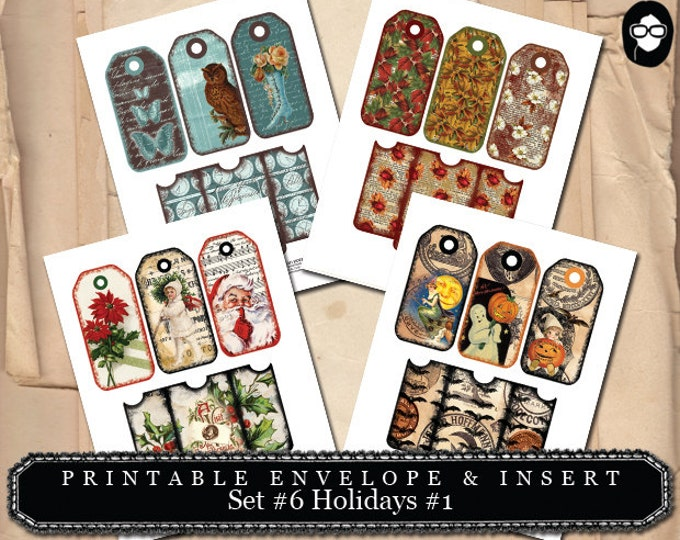 Envelope Template - Printable Envelope & Insert Set #6 Holidays #1 - 4 Page Instant download, merry christmas, printables, rustic christmas