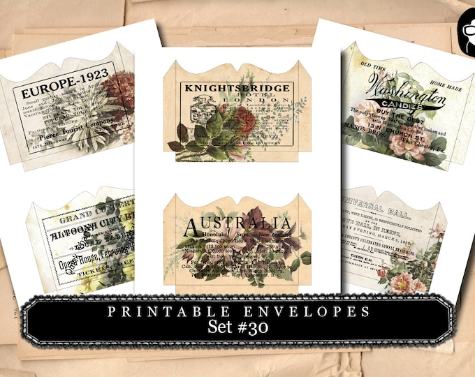 Printable Envelopes #30 - 3 Page Instant download - envelope templates, envelope template, digital roses floral, mini envelopes