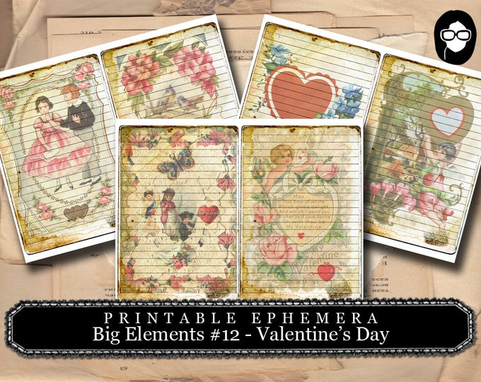 Valentine Theme - Big Elements #12 Valentine's Day - 3 Page Instant Download - junk journal supply, project life kit