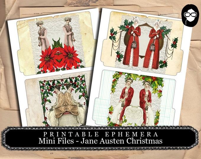 Jane Austen Christmas - Mini Files Set #1 - 2 Page Instant Download - christmas clip art, ephemera kit, journal card, pride and prejudice