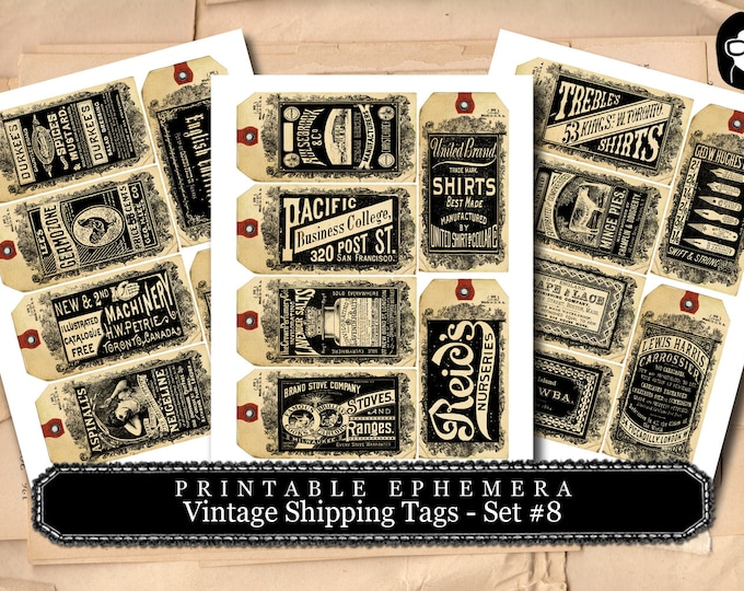 Journaling Cards - Vintage Shipping Tag Collection #8- 3 Page Instant Download, digital journal card, smashbook supplies, gift tags