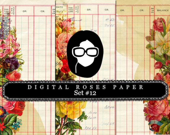 Digital Roses Paper - Set #12 - 3 Pg Instant Downloads - rose digital paper, floral digital paper, best digital paper, digital collage