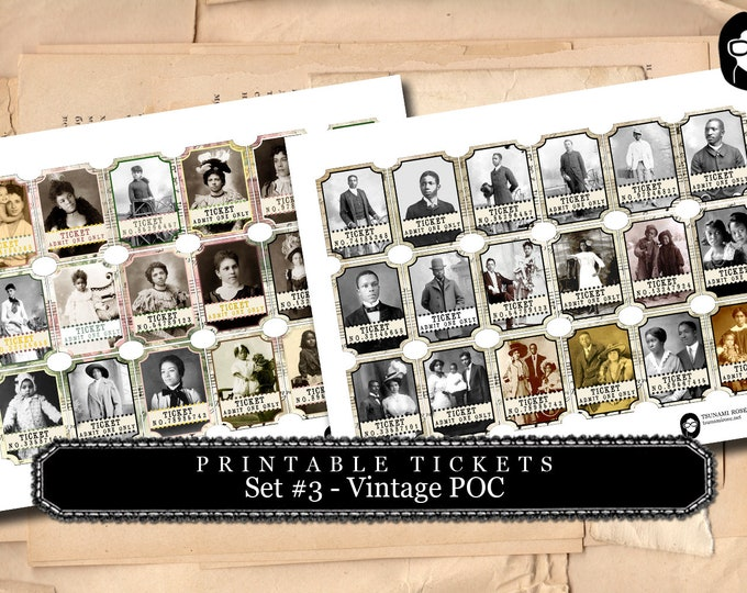 Printable Tickets - Set #3 Vintage POC - 2 Page Instant Download - vintage people of color, vintage ticket printable, ephemera paper pack