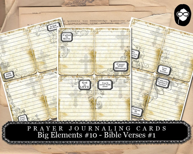 Prayer Journaling - Big Elements #10 - Bible Verses #1 - 3  Page Instant Download - scripture art, bible journaling kit, printable verses