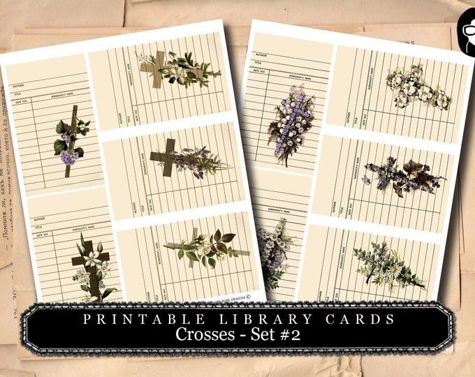 Prayer Journaling - Library Cards - Vintage Crosses #2 - 2  Page Instant Download - scripture art, printable verses, journal cards