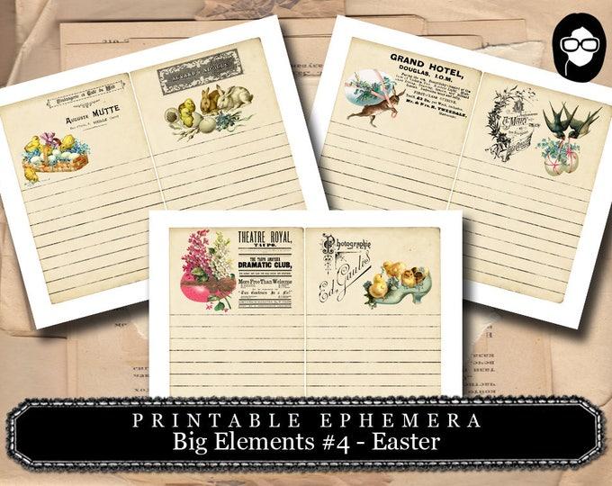 Easter Printable - Big Elements #4 - 3 Pg Instant Download - digital journal card, journal cards, digital download for junk journal