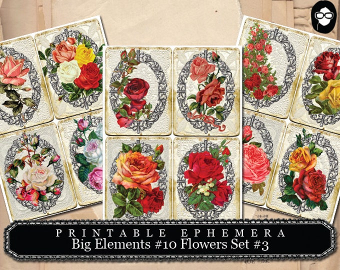 Altered Art Kit -  Big Elements # 10 Flowers # 3 - 3 Page Instant Download - smash journal kit, journaling cards, digital journal card