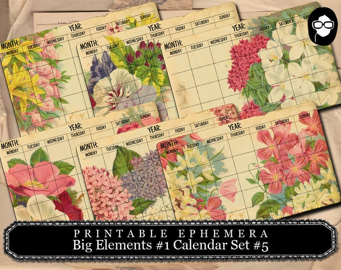 Digital Journal Card - Big Elements #1 Calendar #5 - 3 Page Instant Download - floral clipart, smashbook supplies, blank journal cards