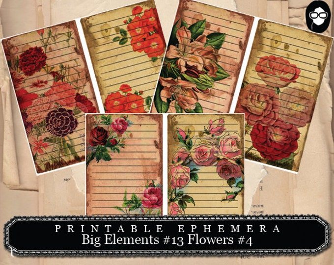 Journaling Cards - Big Elements #13 Flowers #4 - 3 Pg Instant Download - journal cards, digital journal card, smash book kit, floral clipart