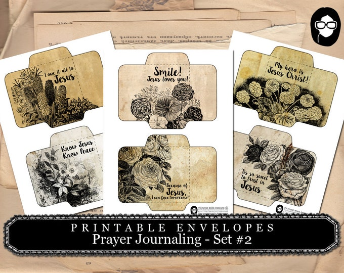 Printable Envelopes - Prayer Journaling Set #2 - 3 Page Instant download - envelope templates, digital roses floral, faith, mini envelopes