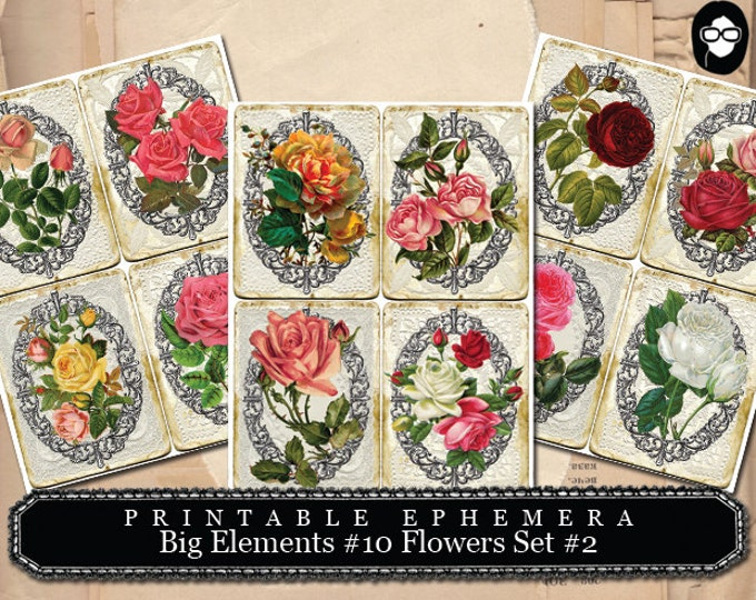 Journal Cards -  Big Elements # 10 Flowers # 2 - 3 Page Instant Download - journaling kit, art journal card, journaling cards, ephemera kit