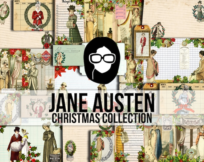 Jane Austen Christmas Collection - 57 Page Download - Junk Journal Kit, Lined journal pages, travelers notebook, mi