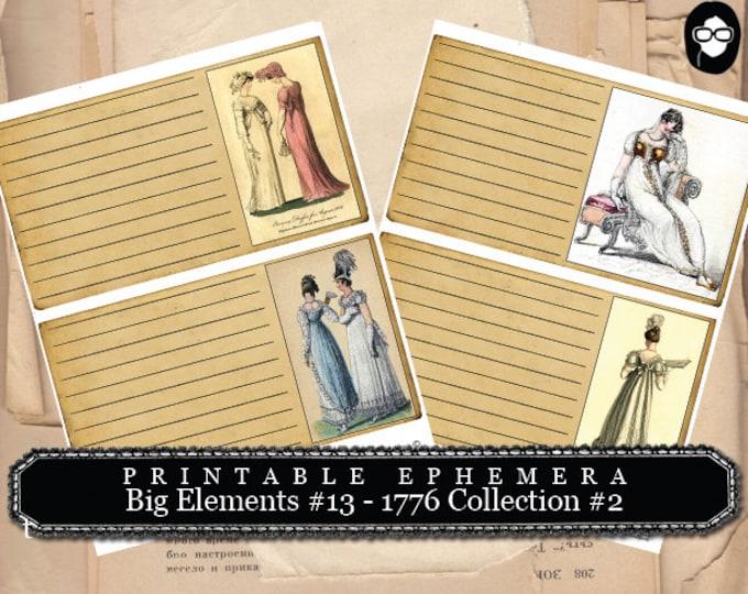Jane Austen Print - Big Elements #13 - 1776 Collection #2 - 2 Pg Instant Download - pride and prejudice, jane austen quote, journal cards