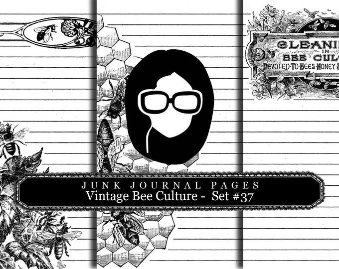 Lined Paper Pack - Vintage Bee Culture Set # 37 - 3 Pg Instant Download, lined diary paper, lined journal paper, vintage distressed Paper