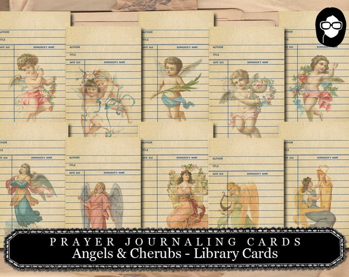 Illustrated Faith - Angels & Cherubs Library Cards - 2 Page Instant Download - scripture art, bible journaling kit, printable verses