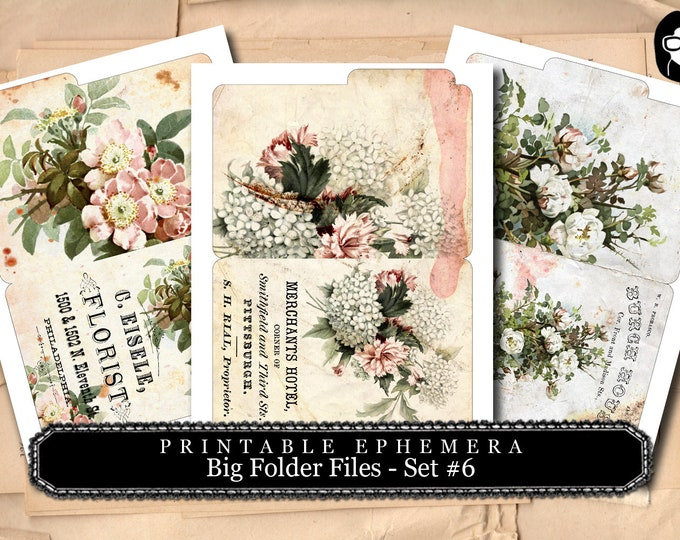 Bouquet Clipart - Big Folder Files Set #6 - 3 Page Instant Download - ephemera pack, altered art kit, junk journal kit, blank journal cards